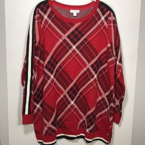 Charter Club red plaid sweater size 1X